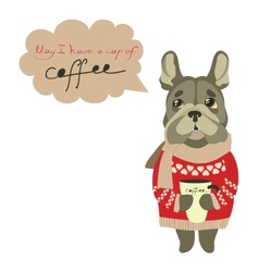 Sad little dog begging for cup of coffee vector image