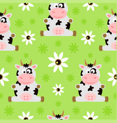 Seamless background cartoon with cow vector