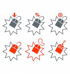 shopping mouse icons vector image vector image