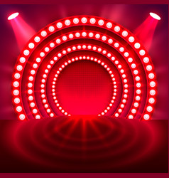 show light podium red background vector image vector image