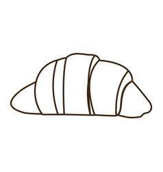 Silhouette croissant bread icon food vector