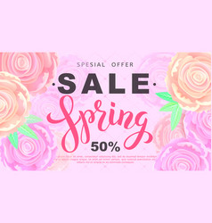 Spring sale banner with rose flowers on black vector