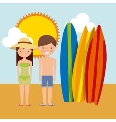 Surf board couple cartoon and sun icon summer vector