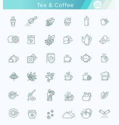 tea icon set thin line vector image vector image