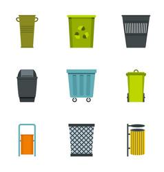 Trash bin icon set flat style vector