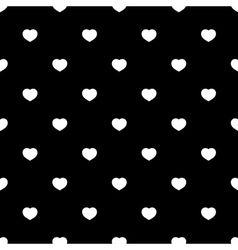 White hearts seamless pattern on black background vector image