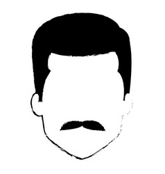 Young man head with mustache avatar character vector