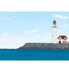 Light house and sea vector