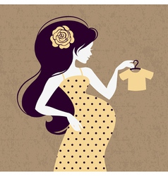 Vintage silhouette of pregnant woman vector