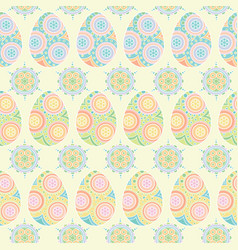 Seamless pattern of colorful eggs and circle vector