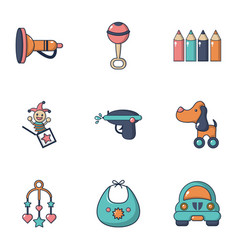 baby toys icons set flat style vector image