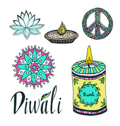 Diwali colorful signs collection lotus rangoli vector