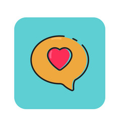 Flat color love chat icon vector