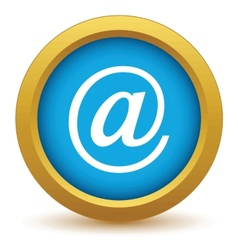 Gold email icon vector
