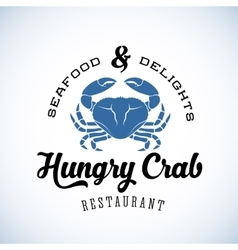 Hungry crab restaurant abstract retro logo vector