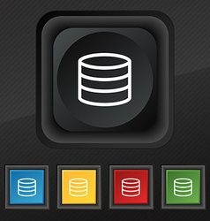 Hard disk and database icon symbol set of five vector