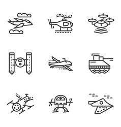 Military drones simple line icons vector