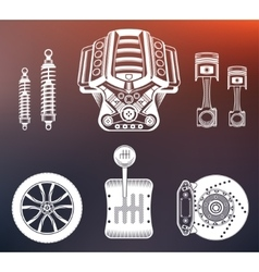 Set parts of car vector