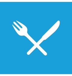 Crossed fork knife icon white vector