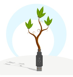 Green usb plant vector