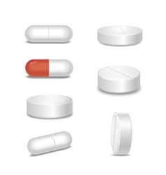 Set of medical pills in different positions vector