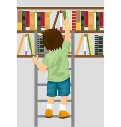Young boy taking book from shelf in library vector