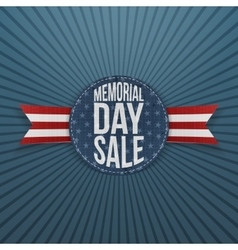 Memorial day sale realistic sign and ribbon vector