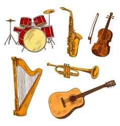 Concert musical instruments colored sketches vector