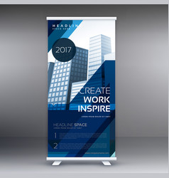 abstract blue standee roll up banner design vector image vector image