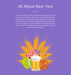 All about fest poster with food set german bakery vector