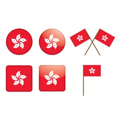 badges with flag of Hong Kong vector image vector image