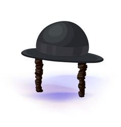 black cylinder hat orthodox jewish hat with vector image
