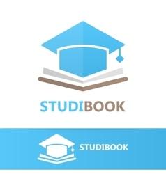 Book and student cap logo concept vector