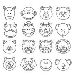 cartoon animals faces vector image vector image