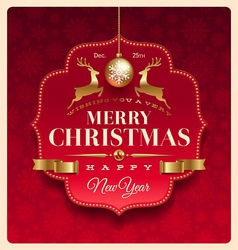 Christmas greeting decorative label vector image vector image