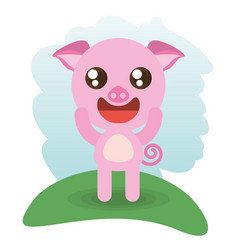 cute piggy animal wildlife vector image