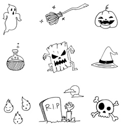 Doodle of Halloween with hand draw vector image vector image