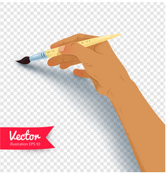 Female hand painting with brush vector
