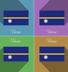 Flags Nauru Set of colors flat design and long vector image