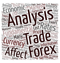 FOREX Fundamental Analysis text background vector image vector image