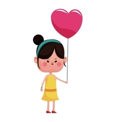 girl pink heart balloon happy vector image