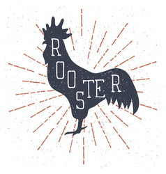 hand drawn rooster with lettering and vintage vector image vector image