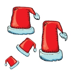 hand drawn santa hat isolated on white vector image vector image