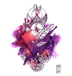 Hand drwan sketch tattoo style vector