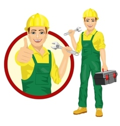 Handsome worker holding adjustable wrench vector