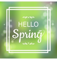 Hello Spring green card design with a textured vector image vector image