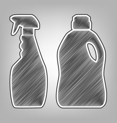 Household chemical bottles sign pencil vector