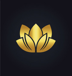 lotus flower beauty spa gold logo vector image vector image
