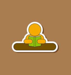 paper sticker on stylish background man reading vector image vector image