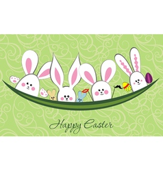 Rabbit and easter eggs vector image vector image